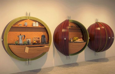 Compact Kitchen: All In One Wall Cabinet U0026 Pantry Design