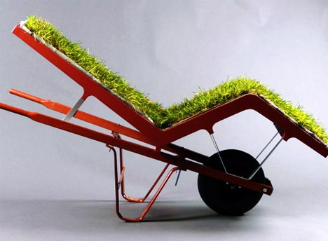 Living Lawn Chair: Grass Cushioned Outdoor Chaise Lounge