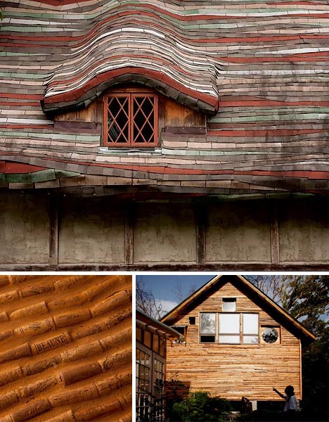 A beautiful house made from trash recycled materials for Exterior house material ideas