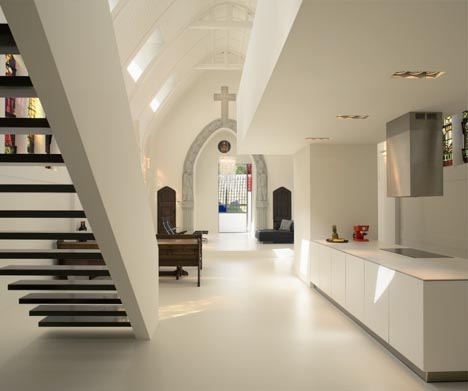 Divine white interior church remodeled into modern home