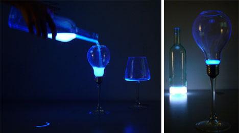 Liquid Light Pours Into A Bulb Shaped Glass Designs