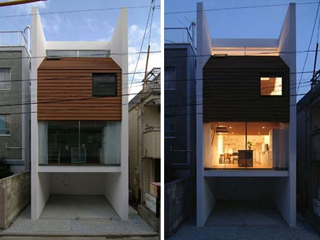 Skinny little mini home has an even smaller house inside for Modern mini homes