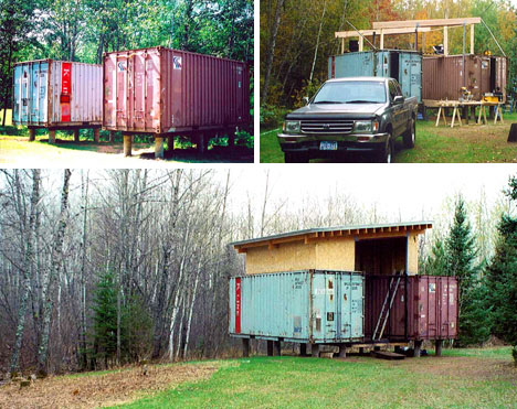 Two if by sea diy cargo shipping container home on stilts for Shipping container pier foundation