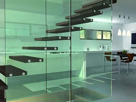 Steel Strong Floating Glass: Open Tread Staircase Pictures