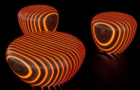 Glow Furniture light wood, literally: glow-in-the-dark outdoor furniture