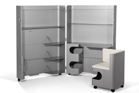 Superbe Mobile Box Office: Convertible Metal Desk, Chair U0026 Cabinet