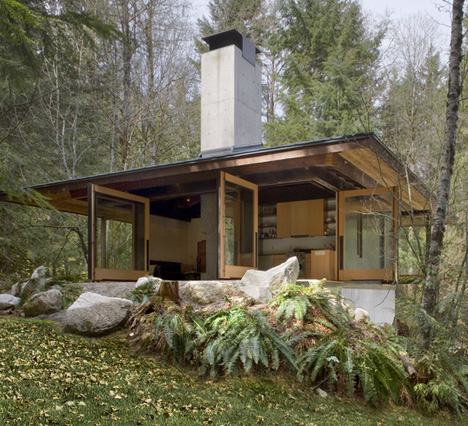 Future in ruins small open plan concrete wood cabin for Poured concrete house plans