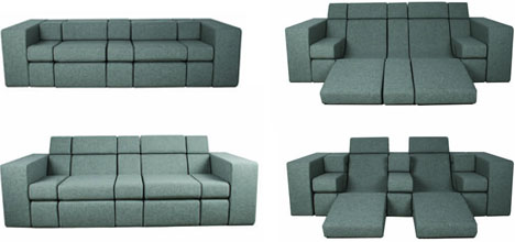 Combo Couch All In One Lounger Love Seat Sofa Bed