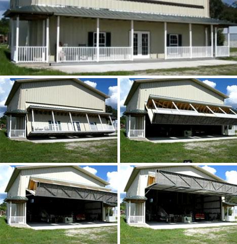 home opener huge garage door hides whole plane hangar. Black Bedroom Furniture Sets. Home Design Ideas