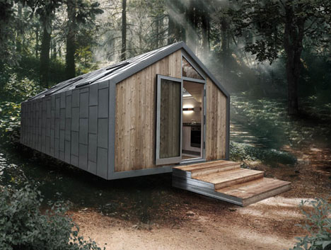 Great Prefab Camo Cabin: Modern Mobile Metal Clad Trailer Home