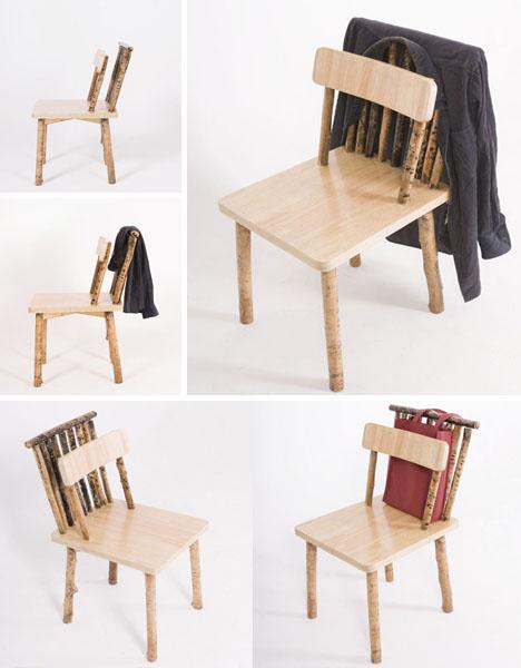 Sticks secrets unhidden wood desk chair shelf set for Unique sitting chairs