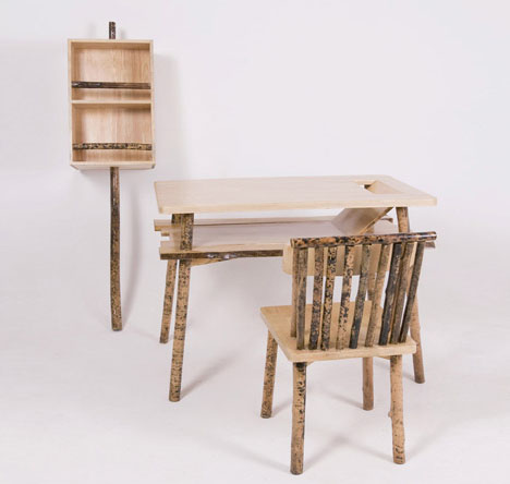 Sticks Secrets Unhidden Wood Desk Chair Shelf Set