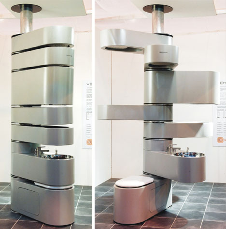 7 Functions, 1 Fixture: Modular Metal Bathroom Design Idea