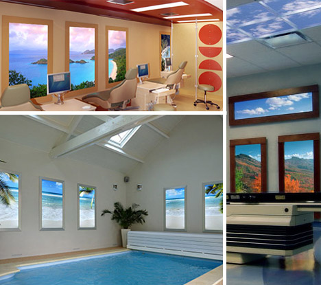 Virtual light 12 faux natural windows fake sky ceilings Fake window for basement