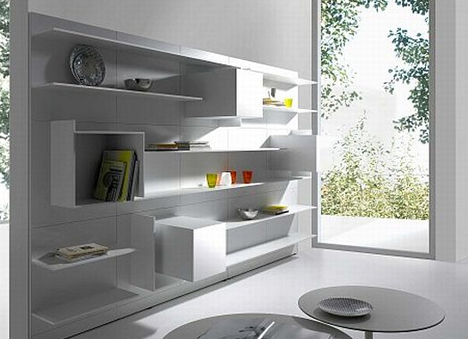 newest c5a70 1347e Floating White Wall Shelves Double as Abstract Home Decor ...