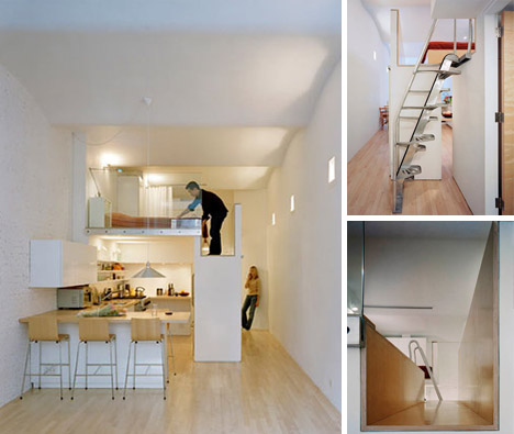 Loft bed turns single floor studio to two level apartment for Single level apartments