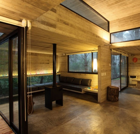 Modern Masonry Cool Concrete Cabin Warm Wood Patio