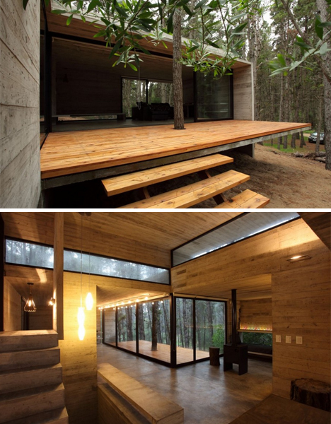 Modern Masonry: Cool Concrete Cabin + Warm Wood Patio ... on Timber Patio Designs id=48427