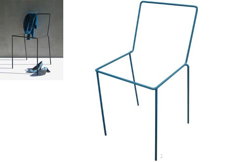 Spare Chair: Seat-Free Metal Frame (Really a Clothes Rack)