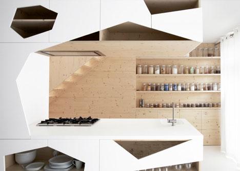 Wall Interiors beautiful balance: white-wall interior + pine-wood panels