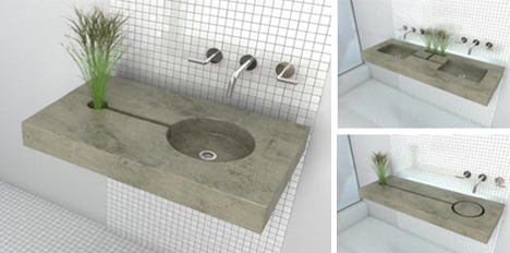 Concrete Zen Garden Sink Waters Plants While You Wash