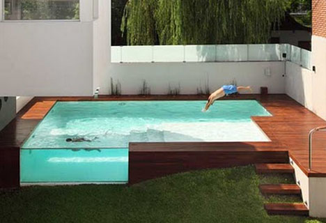 Decked Out: Wood Patio + Above Ground Swimming Pool