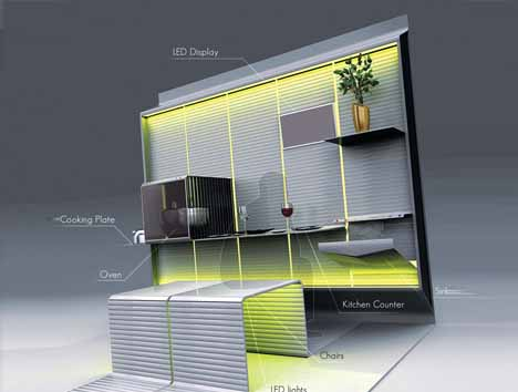 Futuristic Fold Out Kitchen Wall Counter, Cabinets U0026 Chairs