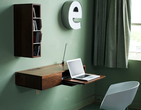 Fold Down Slide Up Simple Wall Mounted Wood Mini Desk