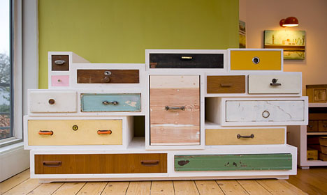 11 Treasure Chests: Old Wood Drawers Set in New Dressers