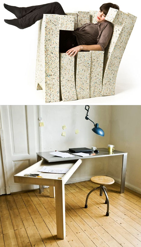 Forget Fabric: Wood, Plants & Books as Chair Upholstery?!