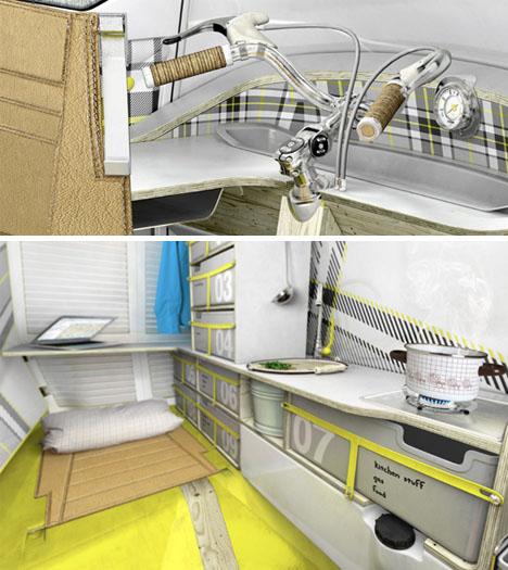 Tiny Truck + Mini Trailer = Super Small Mobile Camper Car! | Designs on rv motorhomes inside, rv camping inside, rv with car inside, rv trailers inside, rv campers inside, rv houses inside, rv rentals inside, rv storage inside,