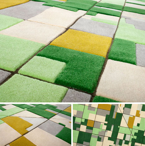 3D Farmville Carpet: Colorful Wool Cut into Aerial Area Rugs