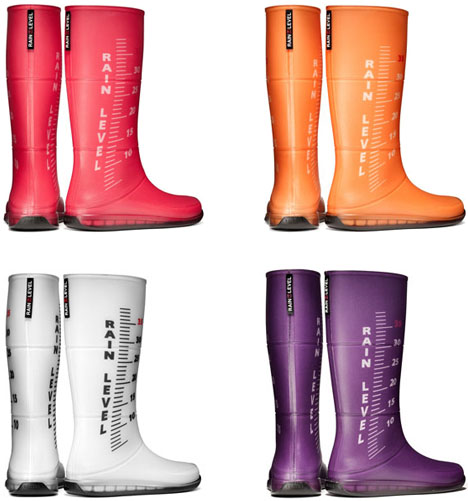 Rain Rulers: Colorful Rubber Boots Measure Water in Style