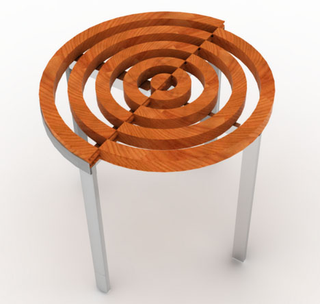 In & Around: Transforming Wood & Metal 'Tree Ring' Table