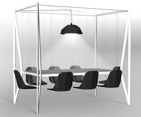 Dynamic Dinner Table Features Fun Swing-Set-Style Seating
