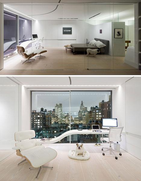 Inredning, arkitektur, design på Heyhome - Ett otroligt snyggt sovrum och kontor med Eames fåtöljen i vitt skinn