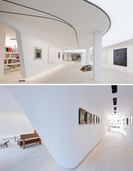White Interior + Curved Walls = Wild Art Collector Condo ...