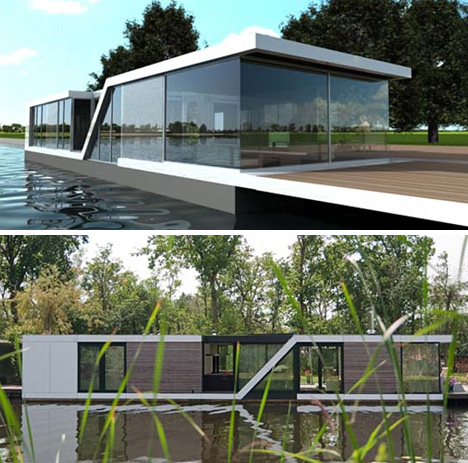 Half-Floating Home: Semi-Submerged Two-Story Houseboat ... on craftsman bungalow style homes, log cabin siding for homes, half brick half siding homes, 3-story homes,