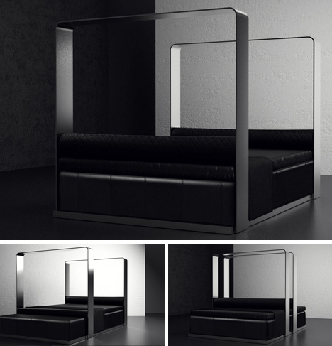 Invisible Canopy: Classy Convertible Modern Bed + Sofa Set