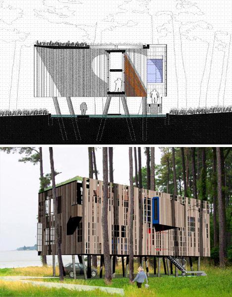 Fluid kit of parts flood proof prefab beach house on stilts for Beach house modular plans