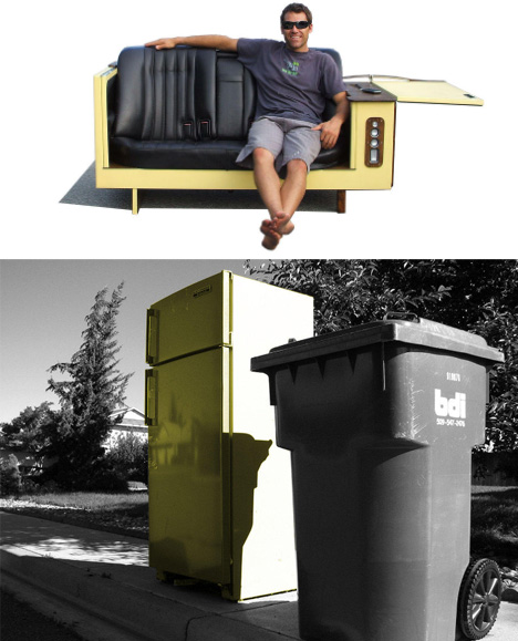 Reused Furniture type mismatch: recycled refrigerator + car seat couches