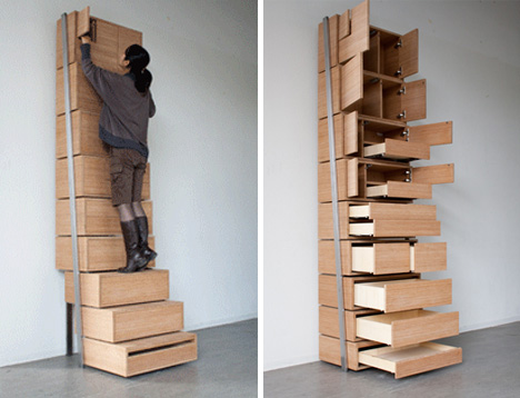 Attrayant Space Saving Staircase Shelves For Floor To Ceiling Storage ...