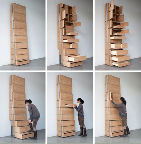 Space Saving Staircase Shelves For Floor To Ceiling Storage