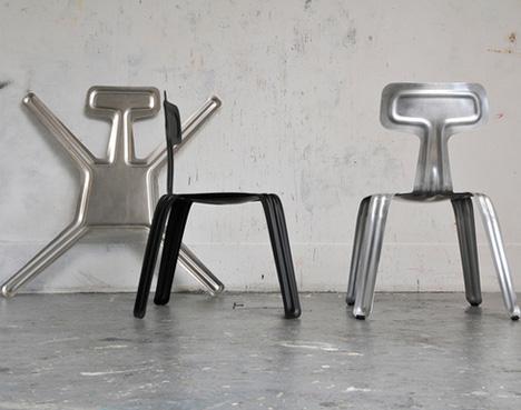Tunn aluminum stol av Henry Thaler