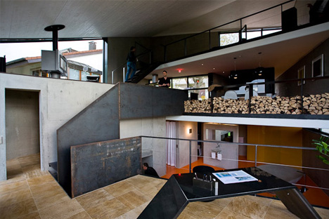 concrete box houses an open plan interior