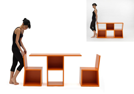 Table With Hidden Chairs breakfast bookcase: trick shelves hide table + 2-chair set