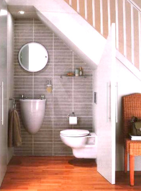 Saving Strange Spaces Small Under Staircase Bathrooms