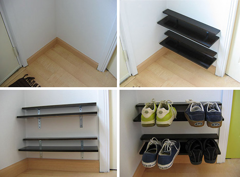 Paired down diy elegantly simple space saving shoe rack lessons solutioingenieria Image collections