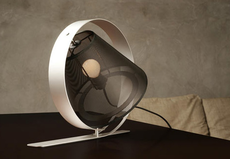 Messy Desk Light: Classic Lamp Shade + Modern Steel Mesh