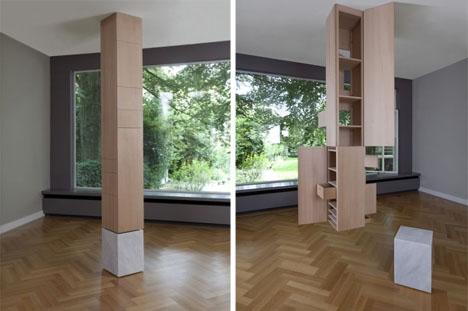 Marble U0026 Wood Column Hides Secret Ceiling Hung Storage